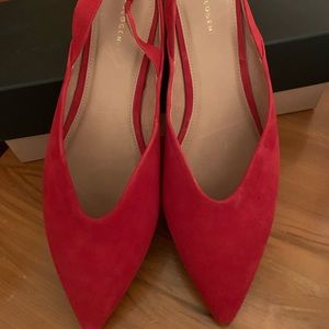 Super cute, Red Suede Never worn Halogen slings